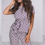Женский летний брючный костюм с принтом ткань летний софт скл.1 арт.54021