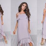 Женское длинное платье на тонких брителях ткань летний софт скл.1арт.54015