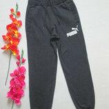 Фирменные трикотажные теплые спортивные брюки мокрый асфальт высокая посадка Puma оригинал.