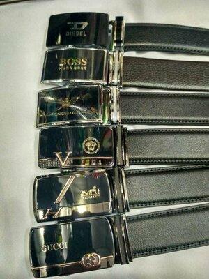 Ремень кожаный мужской автомат брендированый
