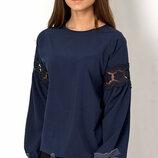 Блуза синяя с длинным рукавом на девочку 2754 Mevis Размеры 146- 164