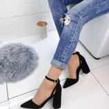 Туфли цвет - Черный, материал - иск.замша, каблук 8.5 см
