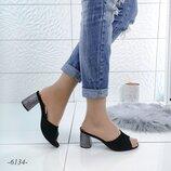 Мюли цвет - Черный, материал - иск.зашма, каблук 6,5см
