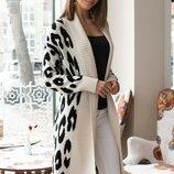 размер 44-50 Тёплый вязанный кардиган, принт леопард. теплый кардиган. вязаный кардиган женский