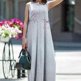 Длинное летнее платье с принтом сакуры