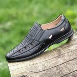 Туфли босоножки кожаные мужские летние черные