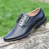 Мужские летние туфли черные кожаные классические на шнурках в дырочку