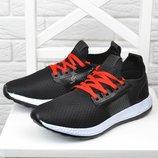 Кроссовки мужские дышащие текстильные OK Sport черные с красным