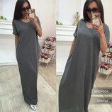 Легке жіноче плаття-футболка довге