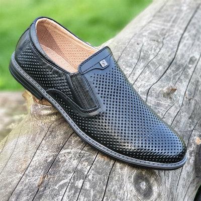 Туфли кожаные мужские летние черные