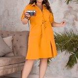 Платье XL повседневное лето костюмка барби горчица фисташки