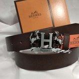 Кожаный ремень в стиле Hermes, Хермес лошадь коричневый