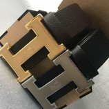 Кожаный чорный, коричневый ремень Hermes, Хермес, Гермес унисекс