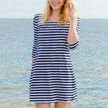 Платье в полоску морское