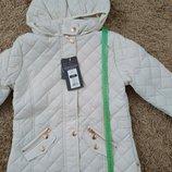 Бежевая стеганая детская куртка 134см Smyk