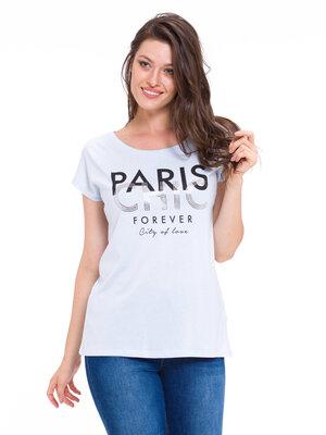 Голубая женская футболка Lc Waikiki / Лс Вайкики с надписью Paris chic forever