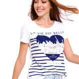 Белая женская футболка Lc Waikiki / Лс Вайкики с сердцем и надписью Paris
