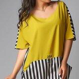 Платье XL свободного кроя супер софт горчица принт полоска