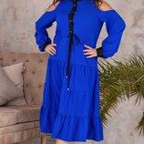 Женское платье ниже колена с открытыми плечами, большой размер