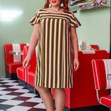Стильное женское летнее платье 41275 Софт Полоска Плечи Волан в расцветках.