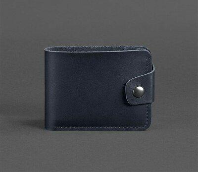 Компактный кожаный кошелек на кнопке темно синий ручная работа