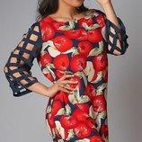 Платье XL штапель принт красный синий