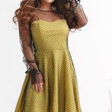 Платье нарядное креп трикотаж сетка черный лимонный пудровый синий
