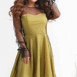 Женское нарядное платье ткань креп-трикотаж с сеткой флок поверх платья скл.1 арт.54170