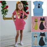 Платье для девочки Кошки красный Тм Літо