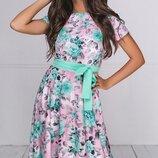 Платье в пол софт принт цветы ментоловый розовый