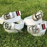 Белый кожаный ремень в стиле Gucci Гуччи