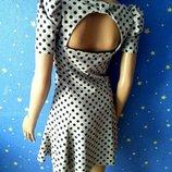 Платье горох little baby doll с открытой спиной юбка полусолнце Miss Selfridge