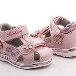 Закрытые босоножки, сандали розовые для девочки размеры 21-26