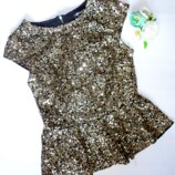 Золотистая блуза паетки 6-9 лет шир.35, дл. 50