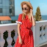 Красивое платье в горох 42 - 44, 44 - 46 три расцветки