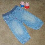 Джинсы детские на девочку 9-12 месяцев голубые с розовой ниточкой Marks and Spencer