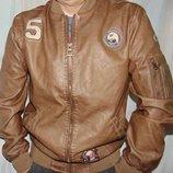 Новая стильная фирменная мужская весенняя Eko кожаная куртка бренд indigo индиго .л-хл