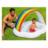 Детский надувной бассейн Intex 57141 Радуга Облако 142 х 119 х 84 см, с навесом