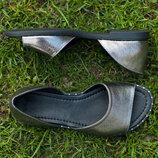 Открытые туфли, балетки, босоножки кожа никель