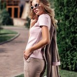 Костюм женский тройка брюки, футболка, кардиган 40 42 44 46 48 50 52 54 56 58 60 размер