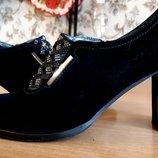 Стильные туфли замша -кожа