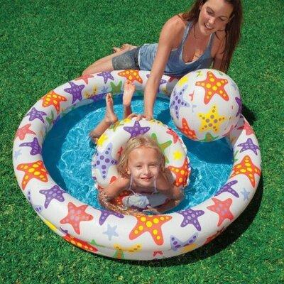 Детский надувной бассейн Intex 59460 Звезды 122 х 25 см надувным кругом и мячом