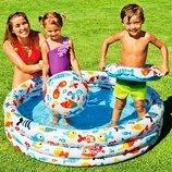 Детский надувной бассейн Intex 59469 Аквариум 132 х 28 см мячом и кругом