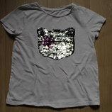 Хит 2019 Крутая футболка перевертыш, реверс в пайетки C&A на 8-10 лет