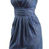 S/36 Джинсовое платье цвета деним Neighborhood, платья-бюстье. Летнее платье. Сарафан.