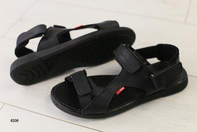 Мужские кожаные сандали на липучке