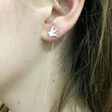 Жіночі срібні сережки протяжки голуби, срібні кульчики голуби, серебро серьги