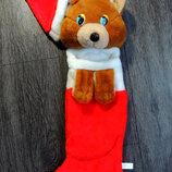 Новогодний сапог Мишка Санта Клаус для конфет и подарков, подвеска мягкая игрушка на Новый Год