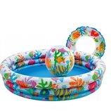 Детский надувной бассейн Intex 59469 Морские Рыбки, мяч, круг, бассейн