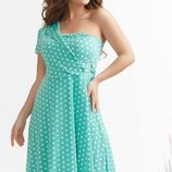 Женское летнее платье в горох с открытым плечем ткань холодный трикотаж скл.1 арт.54180